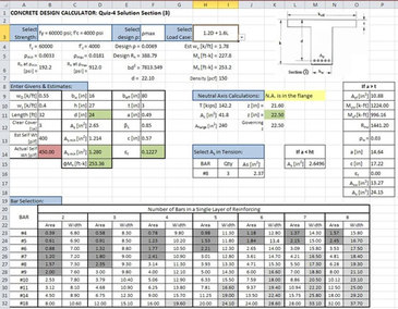 Excel Spreadsheet Design for Engineering Calculations - Construction